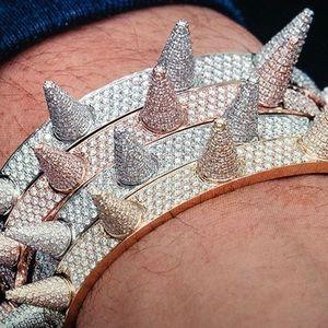 SOLID 925 Silver Spike Bangle Bracelet Lil Pump